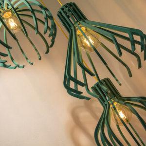 Lampadari Realizzati Con Legno Valchromat Colorato